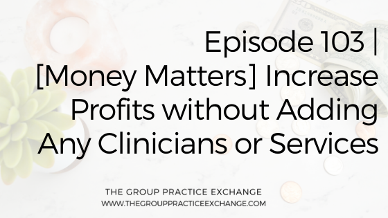 Episode 103 | [Money Matters] Increase Profits without Adding Any Clinicians or Services